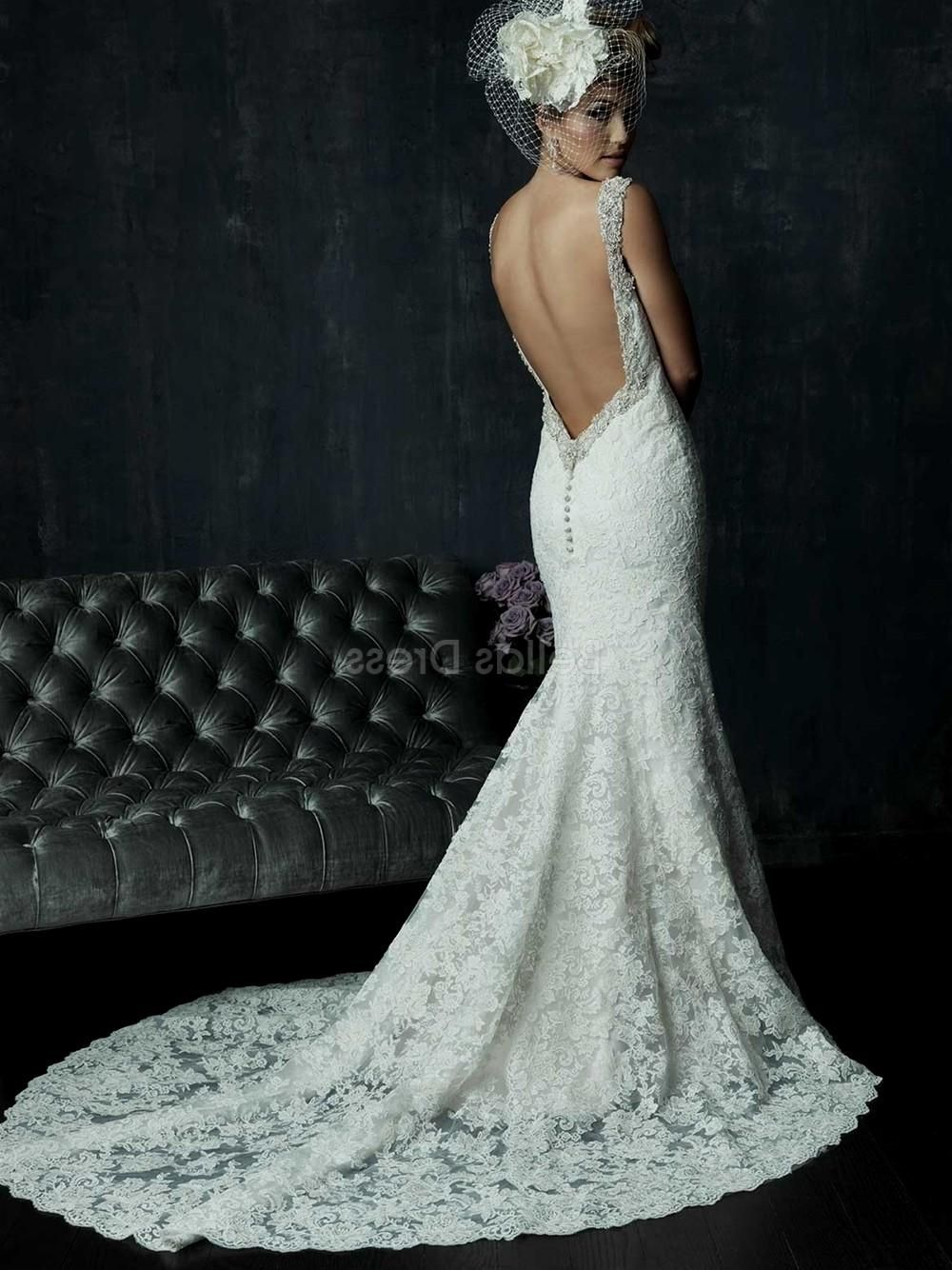 Romantic Sheath Backless Lace Wedding Dress With Shoulder Straps