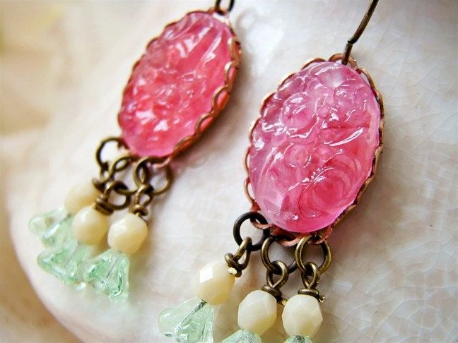 Victorian Chic Pink Glass Cameo Mint & Cream Floral Earrings by Alyssabeths. http://www.etsy.com/listing/87469961/victorian-chic-pink-glass-cameo-mint