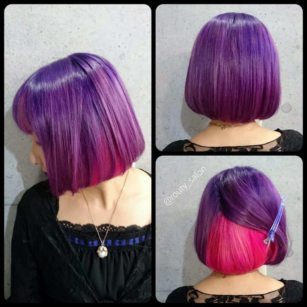 紫グラデーションとインナーピンクの二段構成を ビフォーアフターを見ると一目瞭然 とても鮮やかになりました インナーはベースの髪型と配置によって見せ方が変わるため 今回はボブスタイルで上下で半分にわけた位置で作ってあります モデルさんも自身初の原色にやや
