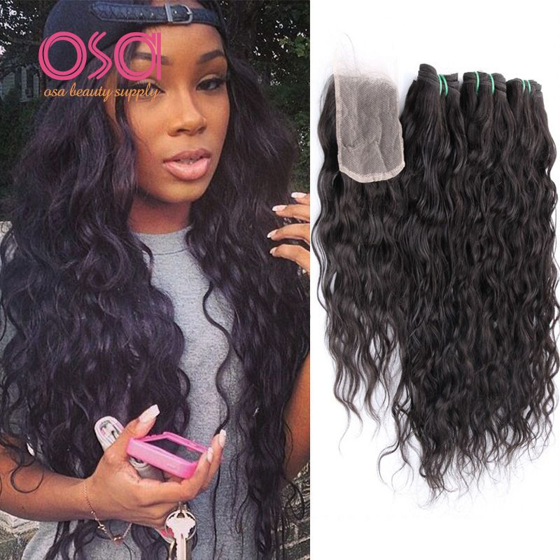 Osa Hair Water Wave 3 Bundle With Lace Closure 1b Ocean