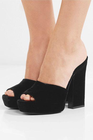 ce078d79ec8 SAINT LAURENT - Debbie velvet platform mules | Shopping ...