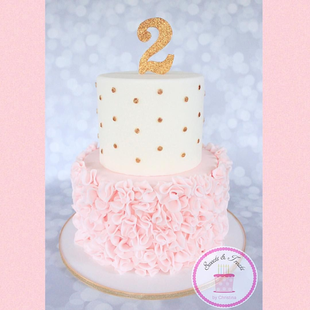 Pink Ruffles And Gold Polka Dots Cake Christina Hagen On Instagram
