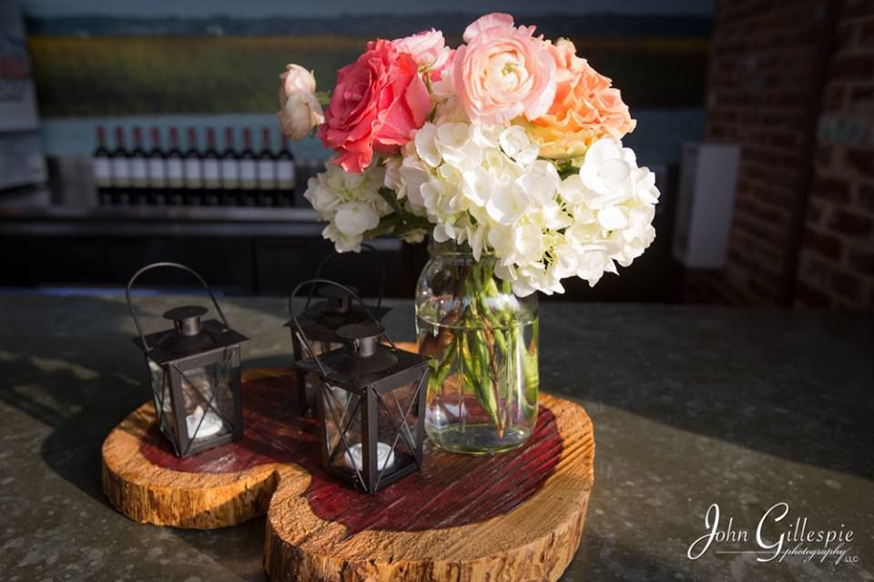 Heart shaped tree centerpieces, with lanters & mason jars