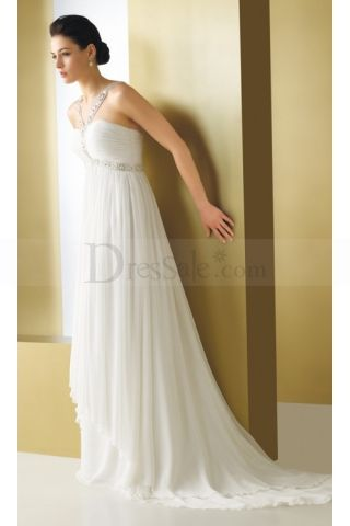 Innovative Grecian Empire Chiffon Bridal Gown Features Sparkline Sequin Detail