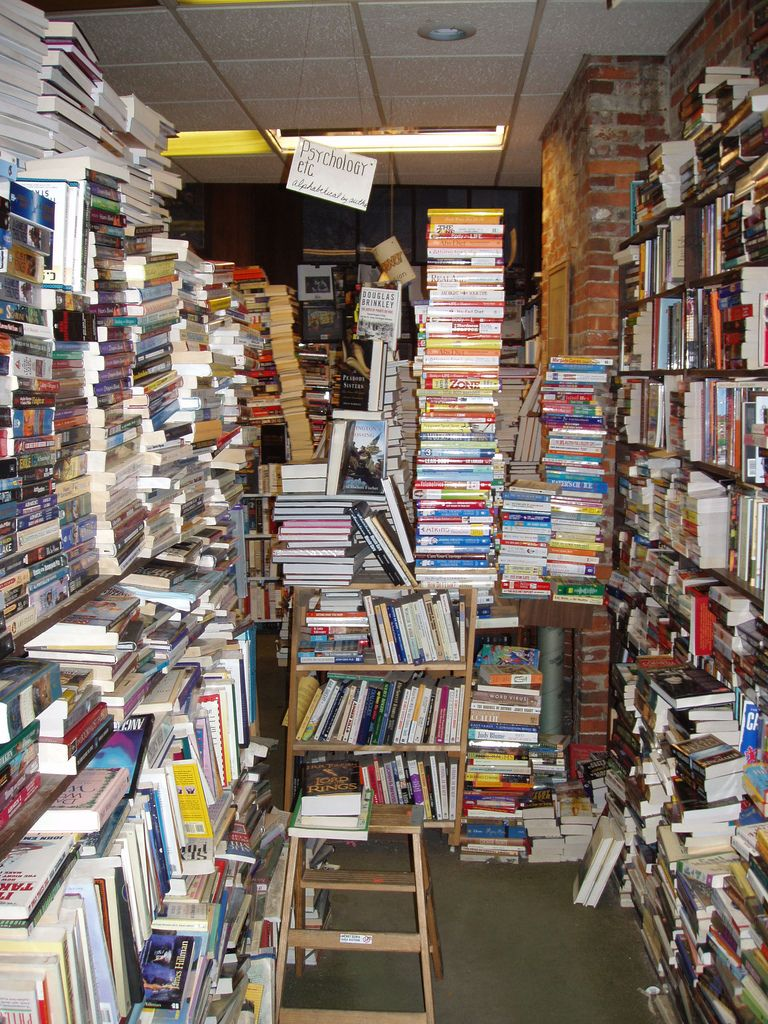 Derby Square Bookstore in Salem, Massachusetts...Always wondering when everything will come tumbling down!