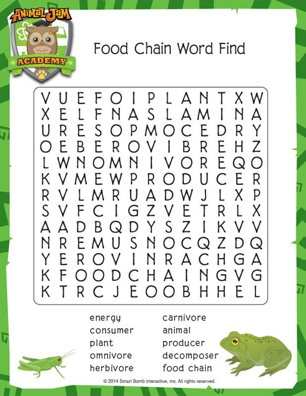 Printable Worksheets food chain worksheets for kids : Animal Jam Academy | Science Downloads | Food Chain Word Find ...