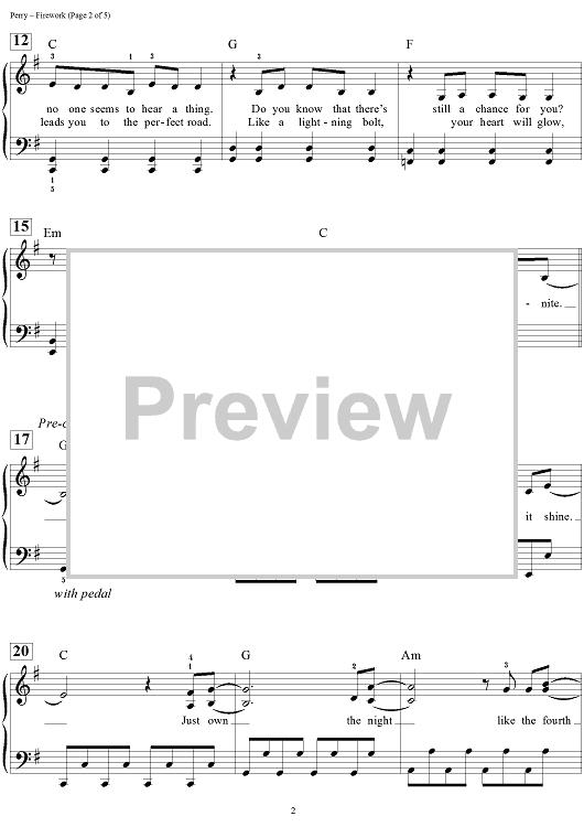 Katy Perry Firework Easy Piano Sheet Music Onlinesheetmusic
