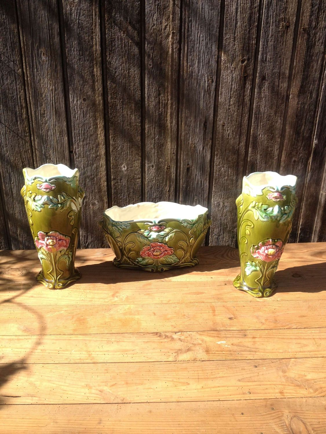 Boutique Art Et Decoration 2 Flowers Vases And 1 Planters In Barbotine Art Nouveau Faïencerie
