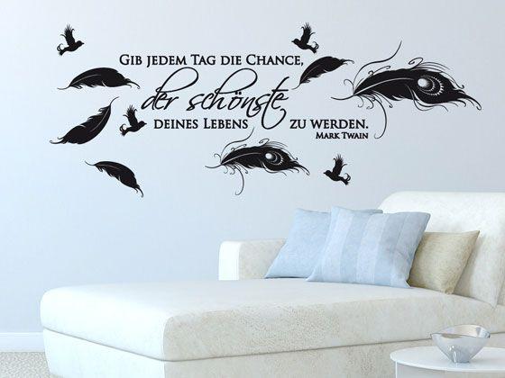 Wandtattoo Aufkleber Spruch Set für Schlafzimmer Gib jedem Tag die - wandtattoos schlafzimmer sprüche