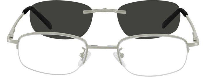65dfff5a69d40 Men s Silver 5802 Metal Alloy Spring Hinge Half Rim Frame with Polarized  Magnetic Snap-on Sunlens.