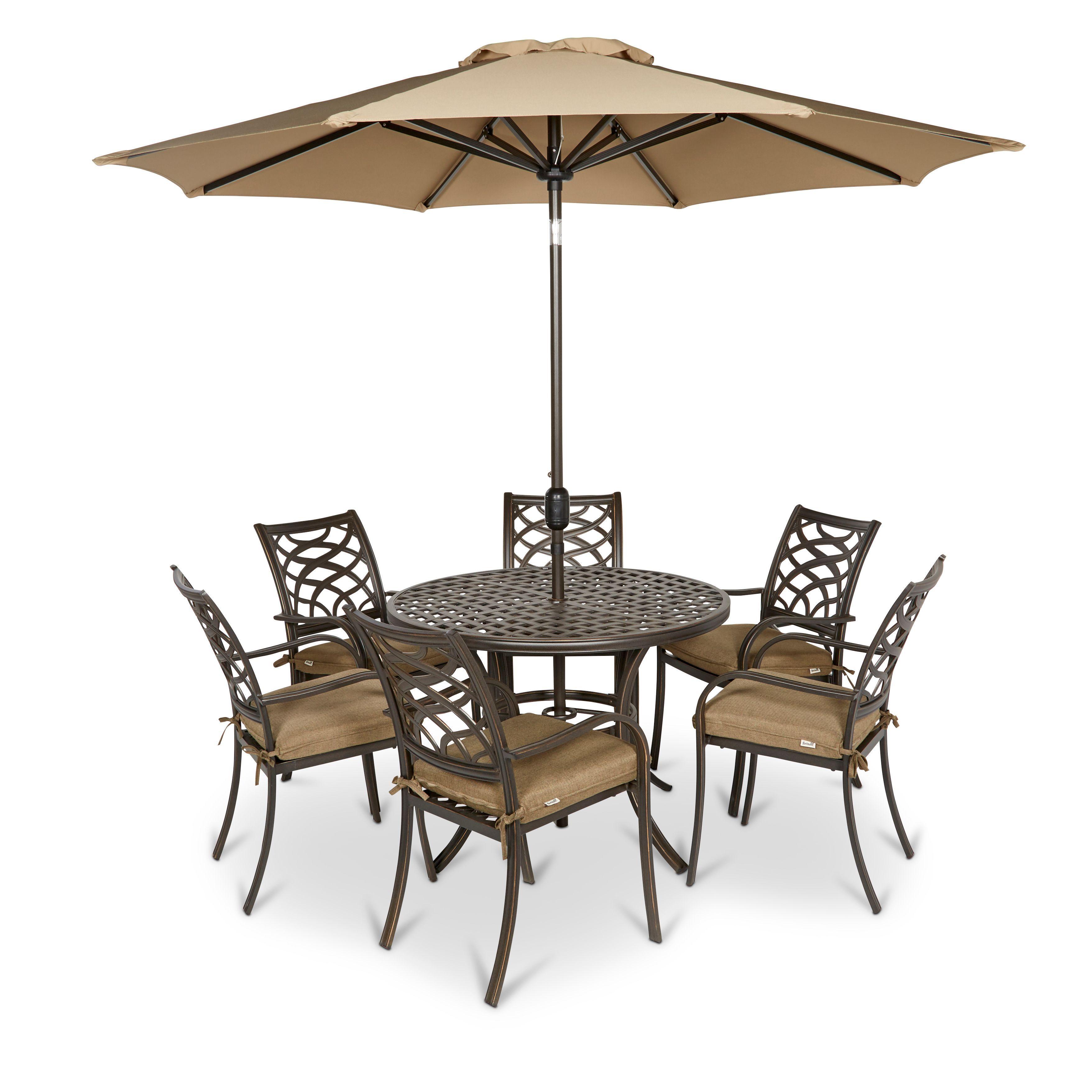 Ripley Metal 6 Seater Dining Set | Departments | DIY at B&Q | garden ...