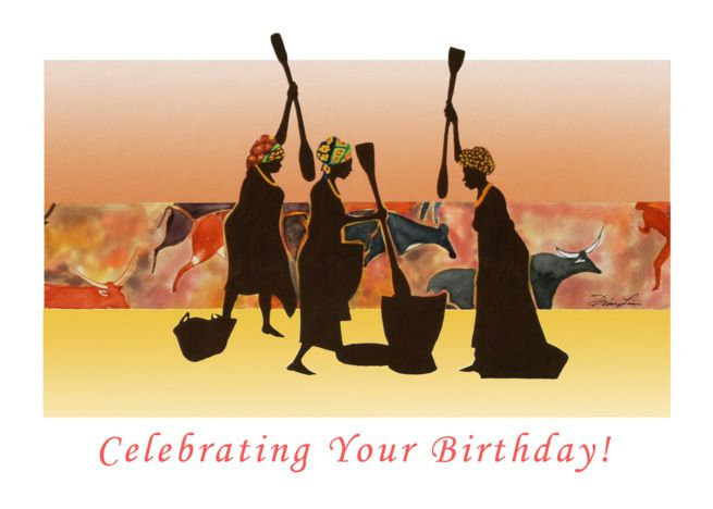 Photo of Happy Birthday from the Sisters – African Women Cave painting card
