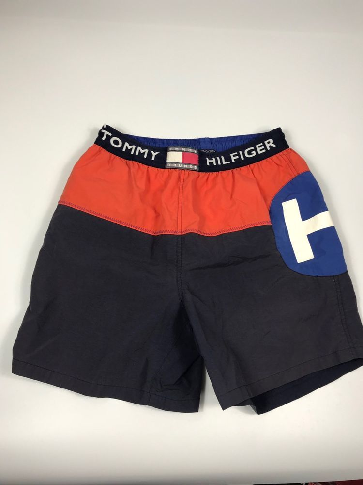 8ded1cd128 VTG Tommy Hilfiger Swim Shorts Trunks Men's M '90s Spellout Orange Blue  White #TommyHilfiger #Trunks