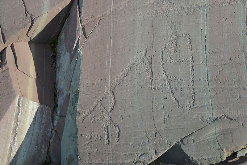 """Alta Norway Petroglyh - pecked, without red paint filling - only the left """"shoe"""""""