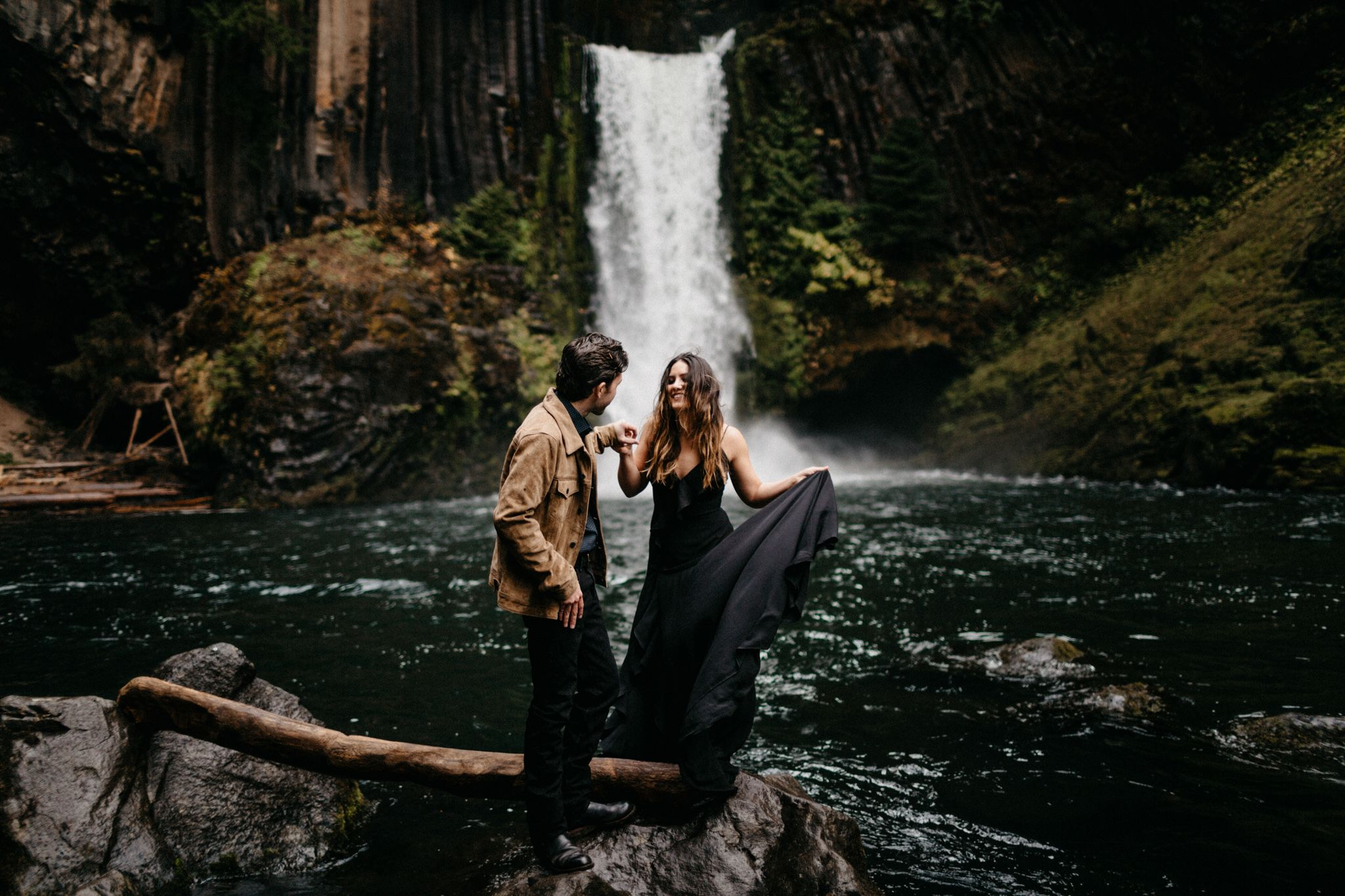 Andice Breinholt Toketee Falls Engagements Waterfall Engagements