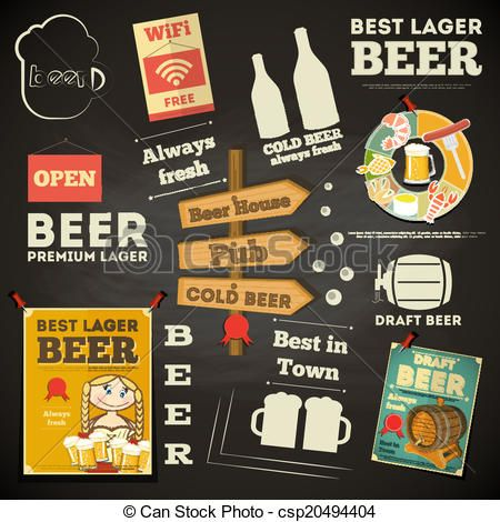 Vector  Beer Menu Chalkboard Design  Stock Illustration Royalty