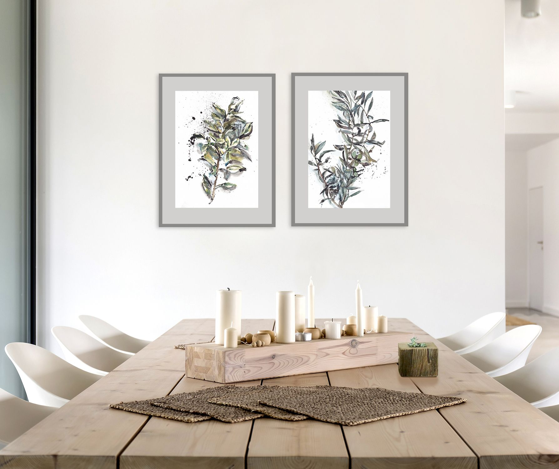 Olive And Ficus Tree Branches Green Leaves Art Set 2 Prints