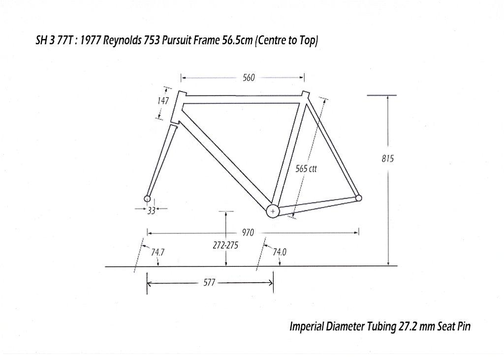 SH377T SBDU Reynolds 753 Pursuit Track Frame Geometry Drawing | My ...