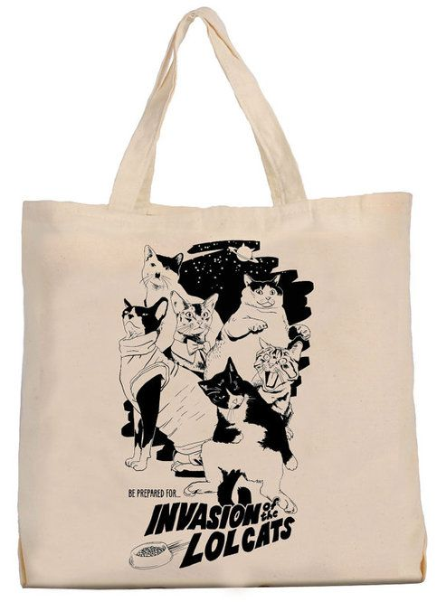 """Invasion of the lolcats""  Thanks to this bag produced in partnership with Brain Magazine, you'll always be with the most famous lolcats.  Illustration designed by Olivier Laude.   Organic cotton bag silkscreen printing Strap fit over the shoulder  14''w x 16''w"