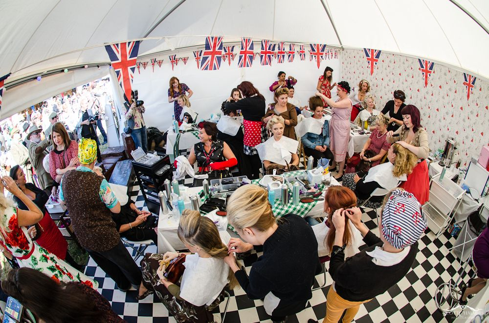 Vintage Hair Lounge Victory Street party themed salon at Goodwood Revival 2012 by Scott Chalmers