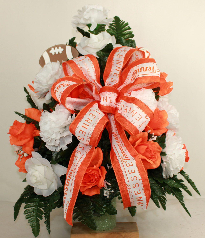 Tennessee Volunteer Fan Cemetery Vase Arrangement Featuring Orange, White Roses