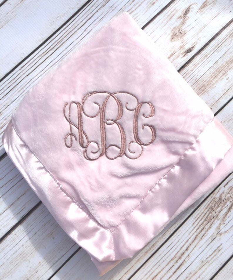 Satin edge Personalized embroidered Baby blanket GREAT BABY GIFT Embroidery