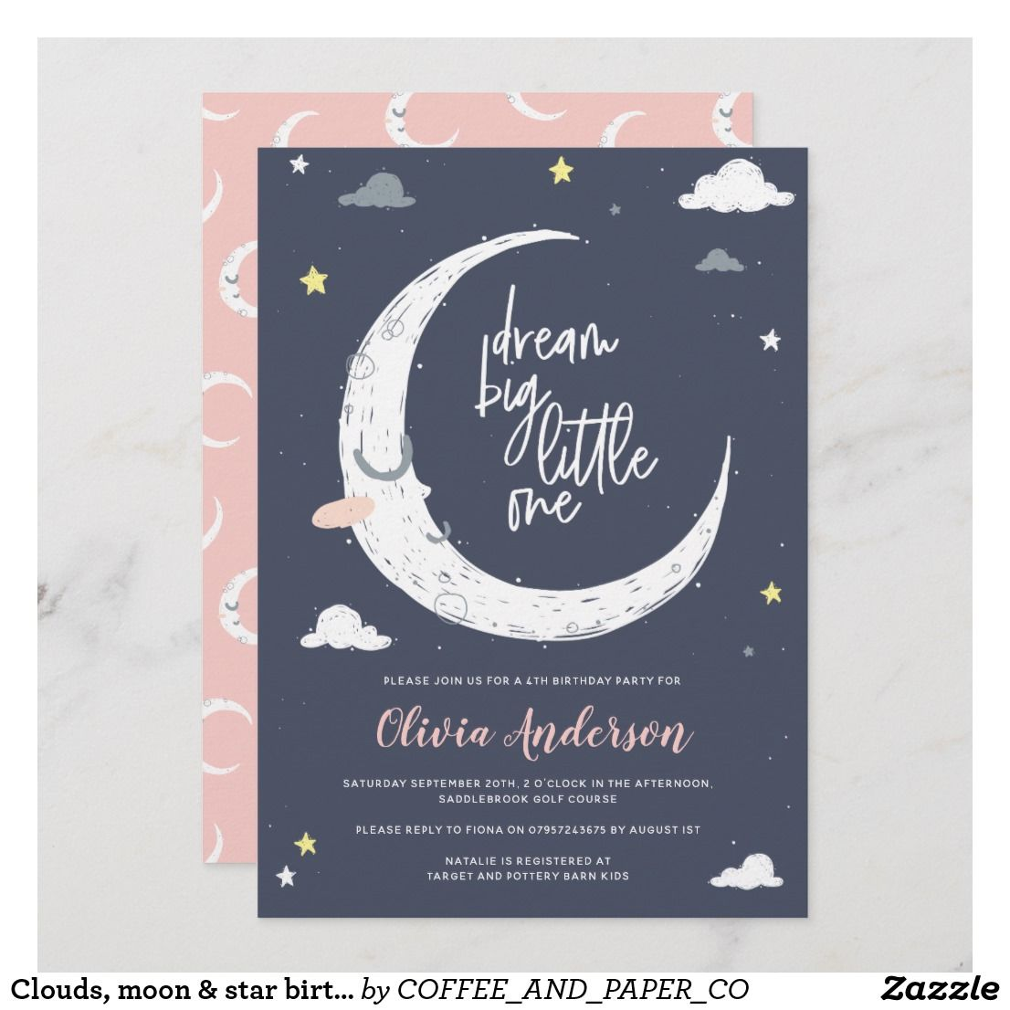 Clouds Moon Star Birthday Party Invitation Zazzle Com Star Birthday Party Birthday Party Invitations Printable Birthday Invitations