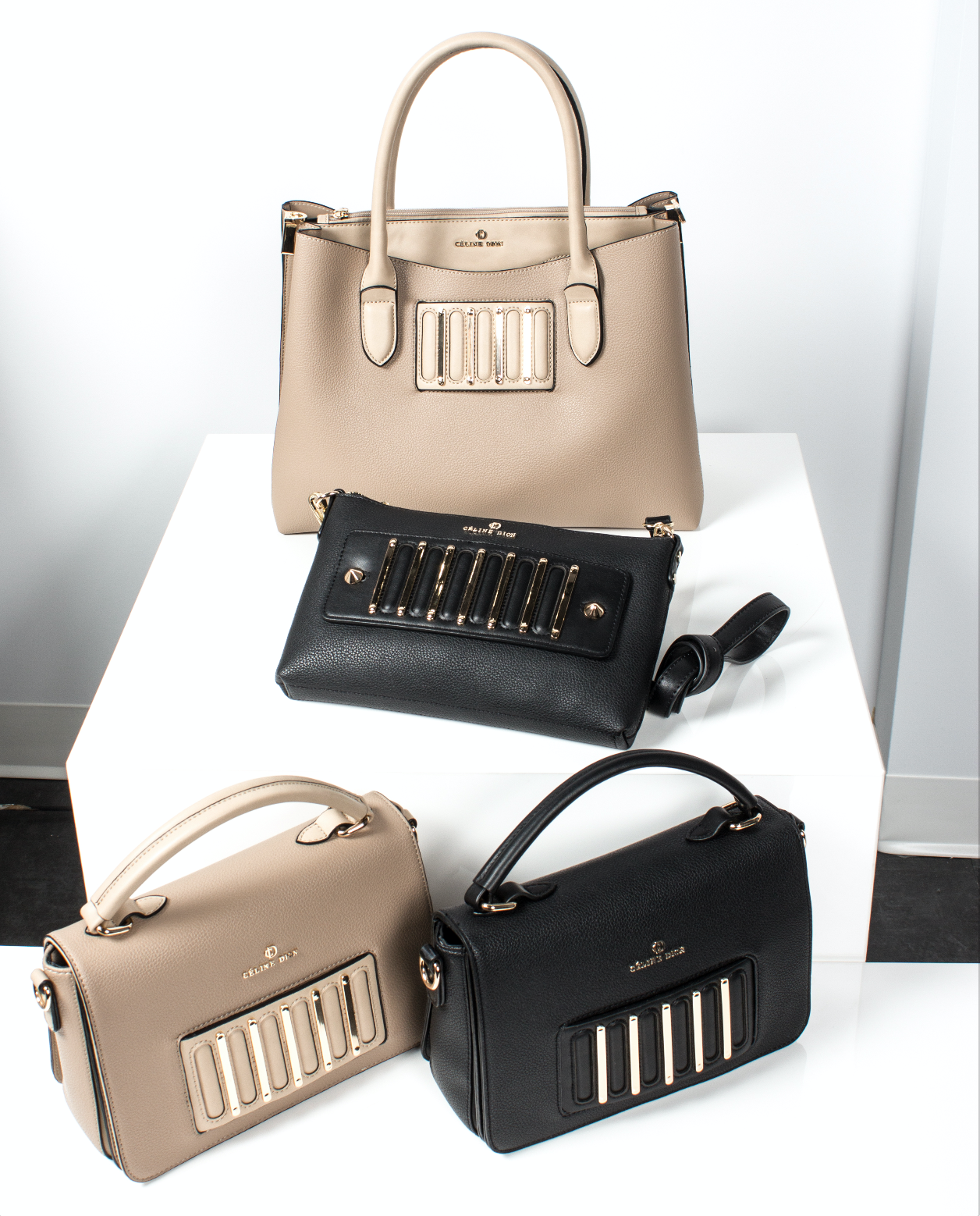 86d6f6e4f4 INTERVAL - HANDLE BAG By Céline Dion   Handle bag with flap Front metal  vertical bar