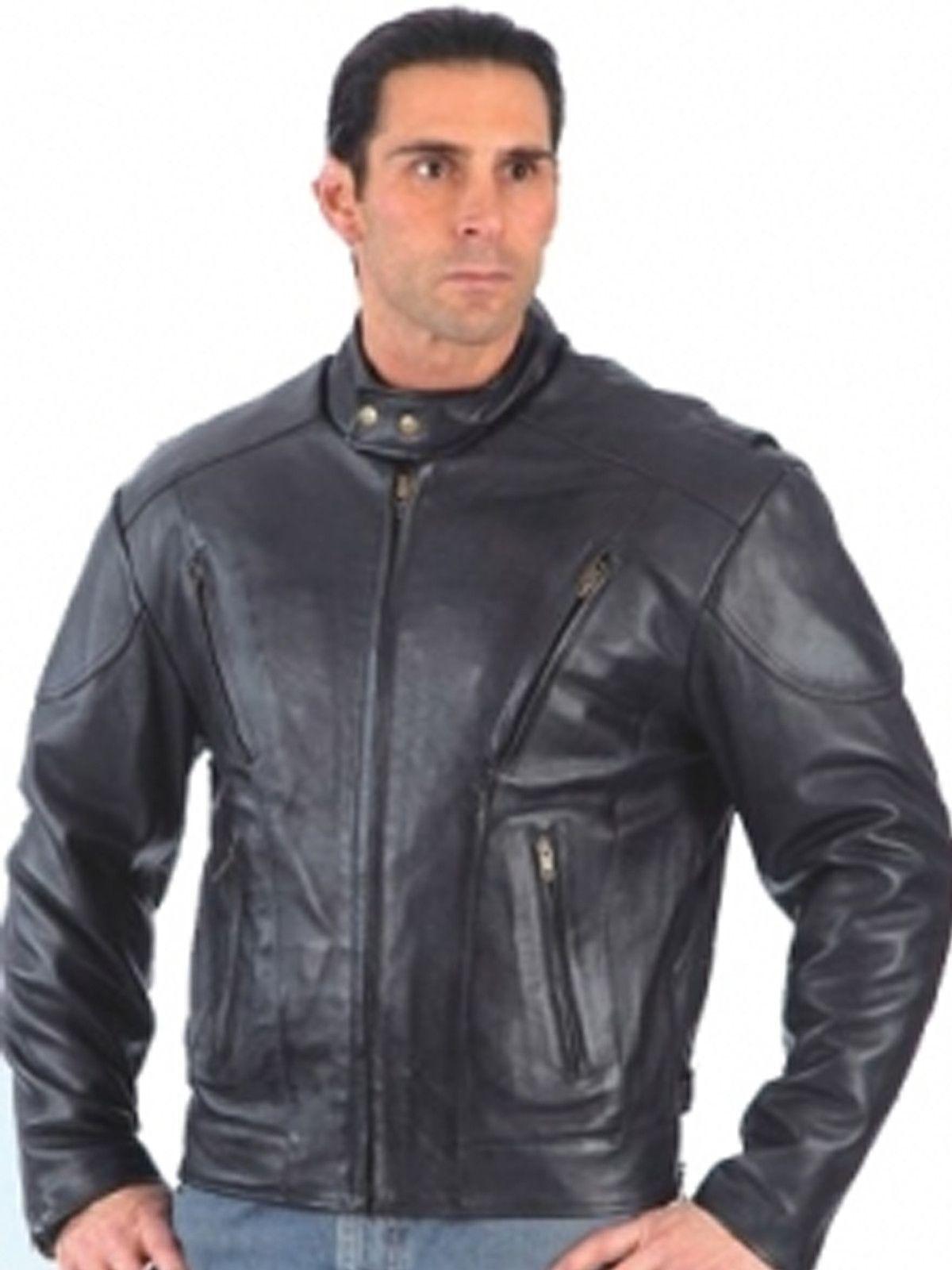 UNIK Men's Big & Tall Black Leather Motorcycle Jacket With