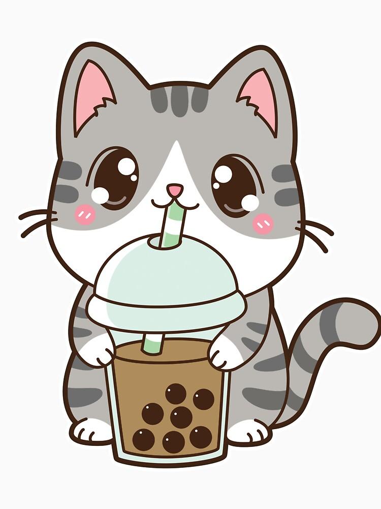 Boba Cat With Classic Milk Tea White Essential T Shirt By Dragnloc Cute Panda Wallpaper Cute Animal Drawings Kawaii Cute Kawaii Drawings