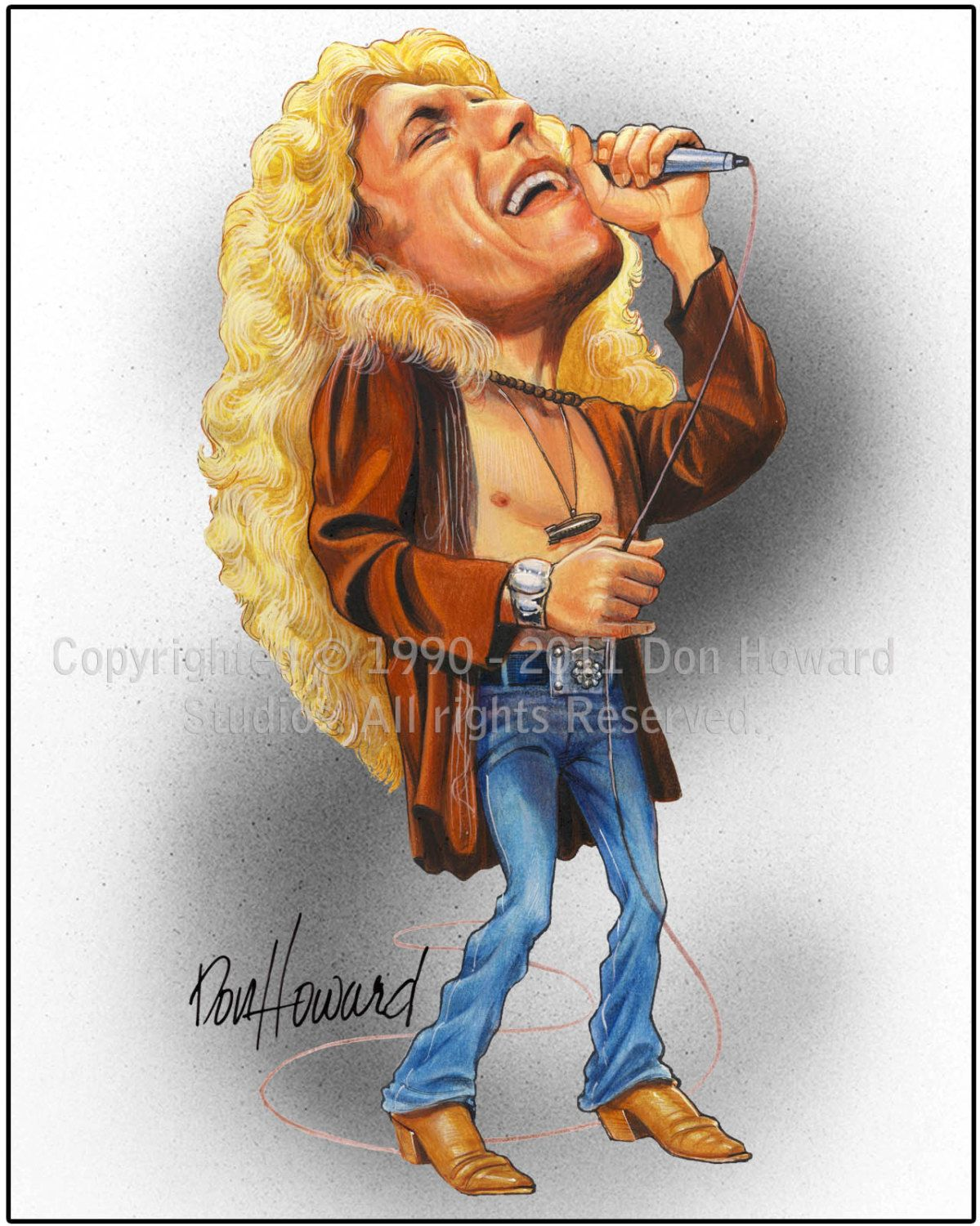 Robert Plant Limited Edition Celebrity Caricature By Don Howard By Donhowardstudios On Etsy Caricature Celebrity Caricatures Funny Caricatures