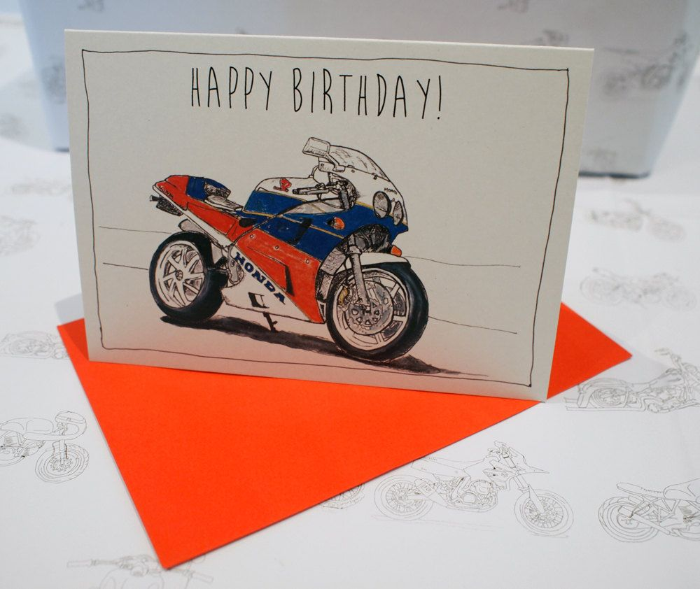 Motorcycle Birthday Card Classic Sportsbike A6 Measures 6 X