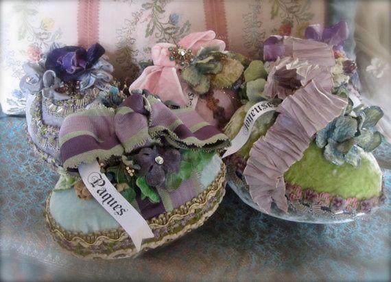 Velvet Easter Egg Centerpiece Vintage Flowers by LadidaHandbags