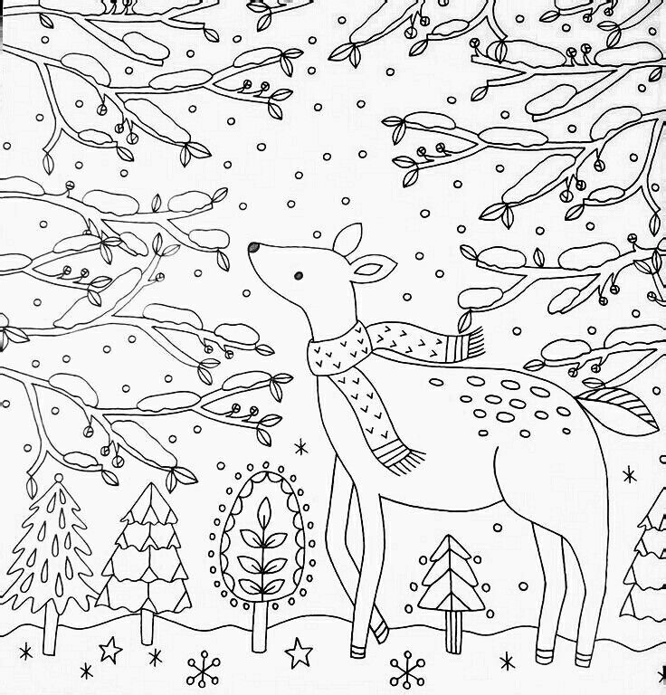 Winter Adult Coloring Page Whimsical Deer In Snowy Forest Free
