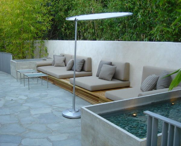Wooden Bench Cushions Seat At Modern Patio - Wooden Bench Cushions Seat At Modern Patio House Pinterest