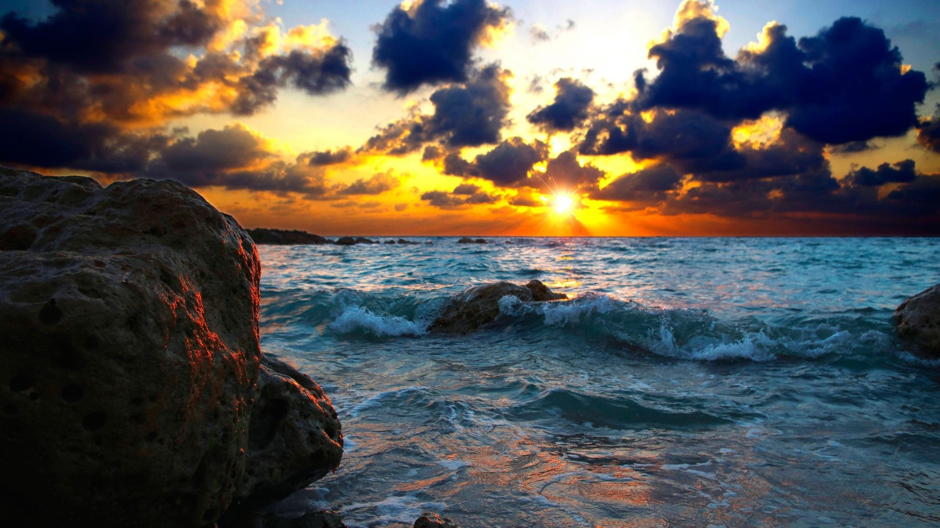 Download Wallpaper 1920x1080 Sea, Surf, Sunset, Stones