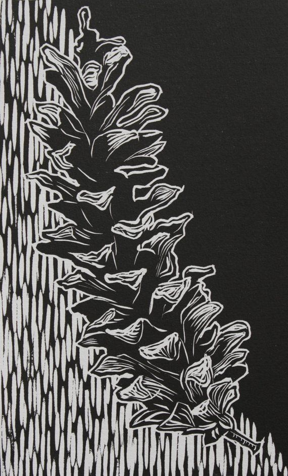 Items similar to Pinecone Relief Print 7.5″x12″ on Etsy