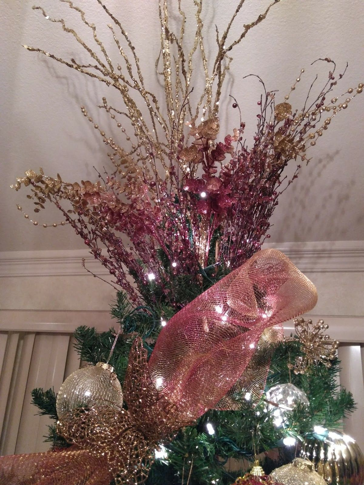 Arbol De Navidad Rosa Y Plata