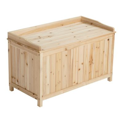 This Sturdy Stonegate Designs Fir Wood Deck Box Is An Attractive Storage Space That Is Built To Last Patio Storage Wooden Decks Deck Box