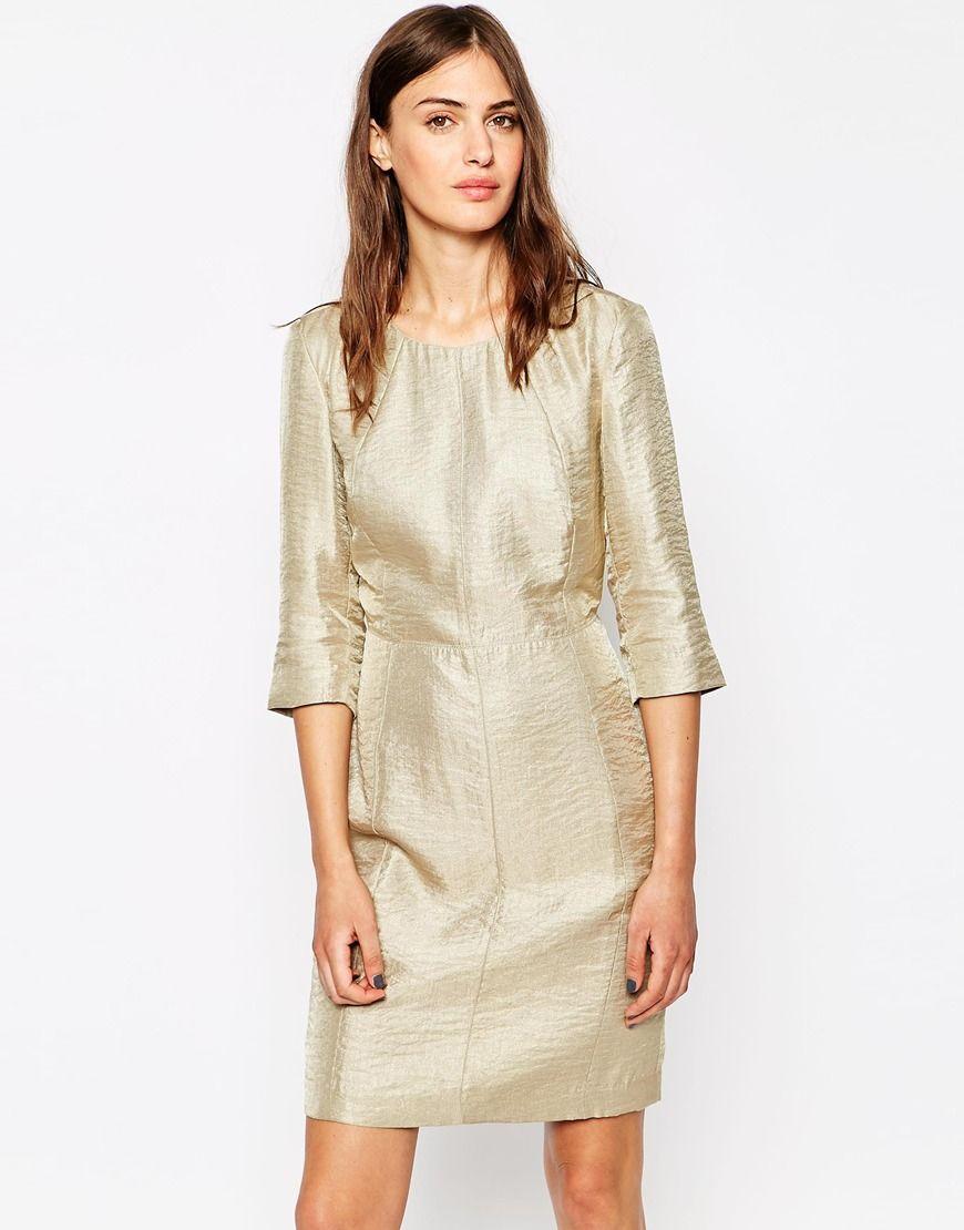 Selected 3 4 Sleeve Gold Shift Dress At Asos Com [ 1110 x 870 Pixel ]