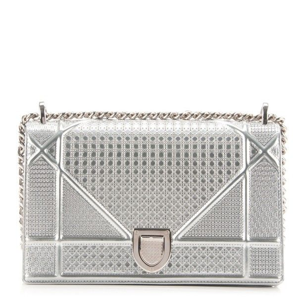 34255505913f CHRISTIAN DIOR Metallic Calfskin Micro-Cannage Medium Diorama Flap Bag... ❤  liked on Polyvore featuring bags