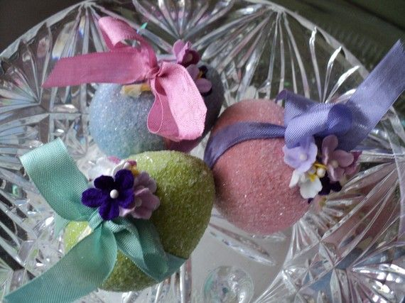 glittery easter egg set by holidayfrivolities on Etsy, $3.50