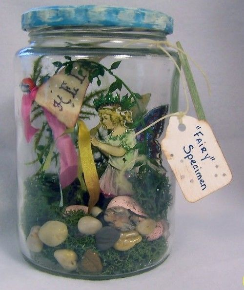 must do this for my lil girl.  I use to make little gardens for fairys when I was a kid but never actually put a fairy in it!