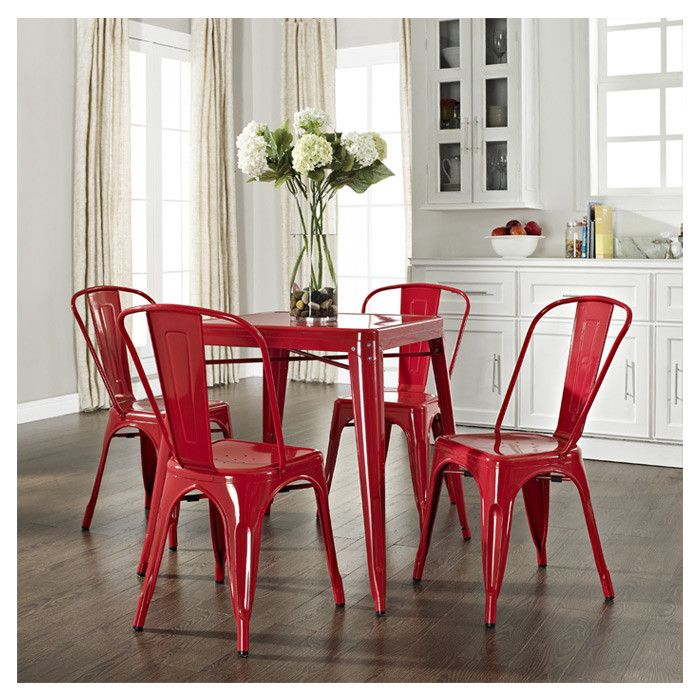 Merveilleux 5 Piece Red Cafe Dining Set