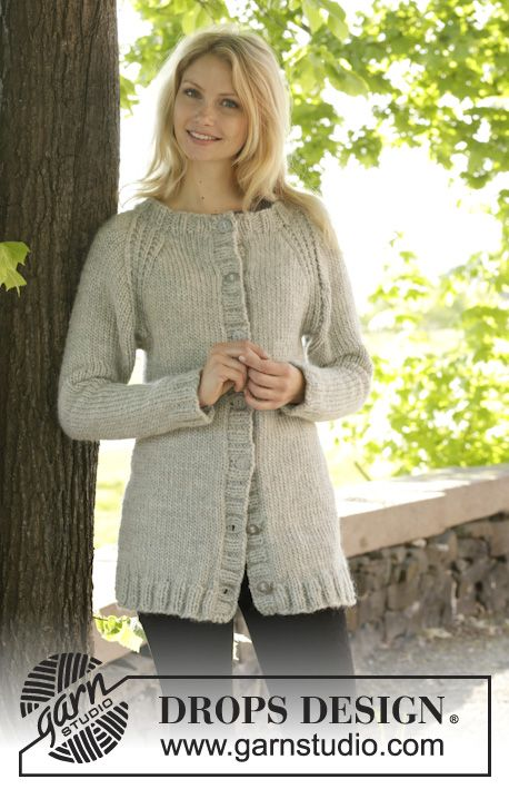 Knitted Drops Jacket With Rib And Raglan Worked Top Down In Eskimo