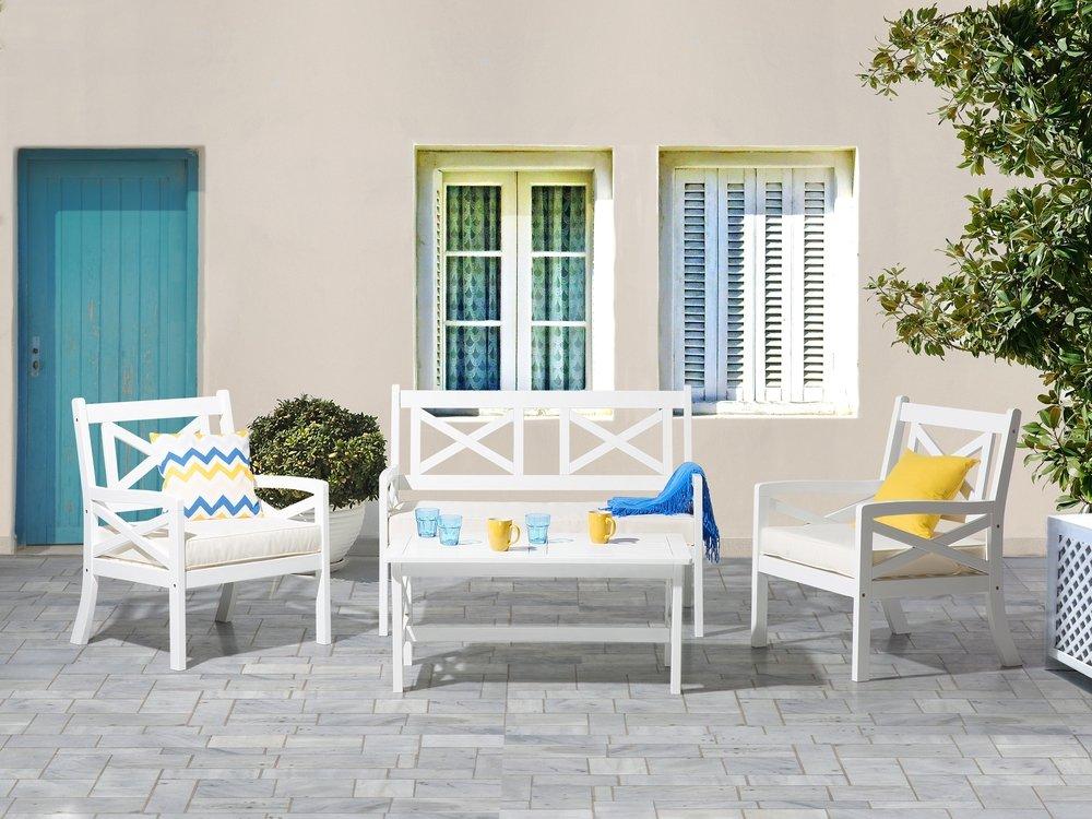 Set Giardino Rattan Bianco.Wooden Garden Bench White Baltic Beliani Co Uk Outdoor Furniture Sofa Wooden Garden Chairs Furniture Sofa Set
