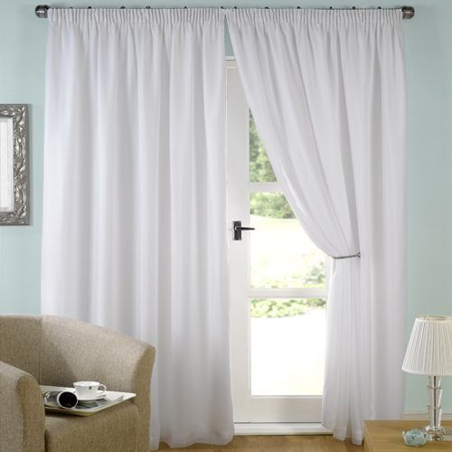 "Latest Luxury White Lined Voile Curtains 46"" Wide x 54"" Drop Contemporary - Contemporary curtains direct New"