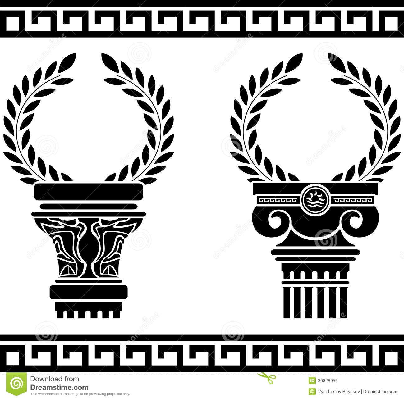 Greek Columns With Wreaths Stock Vector Illustration Of