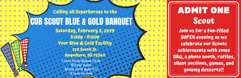 I made these tickets for our superhero themed Blue & Gold