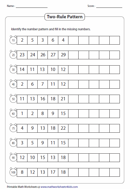 Pattern Worksheets Math Patterns 2nd Grade Worksheets Number